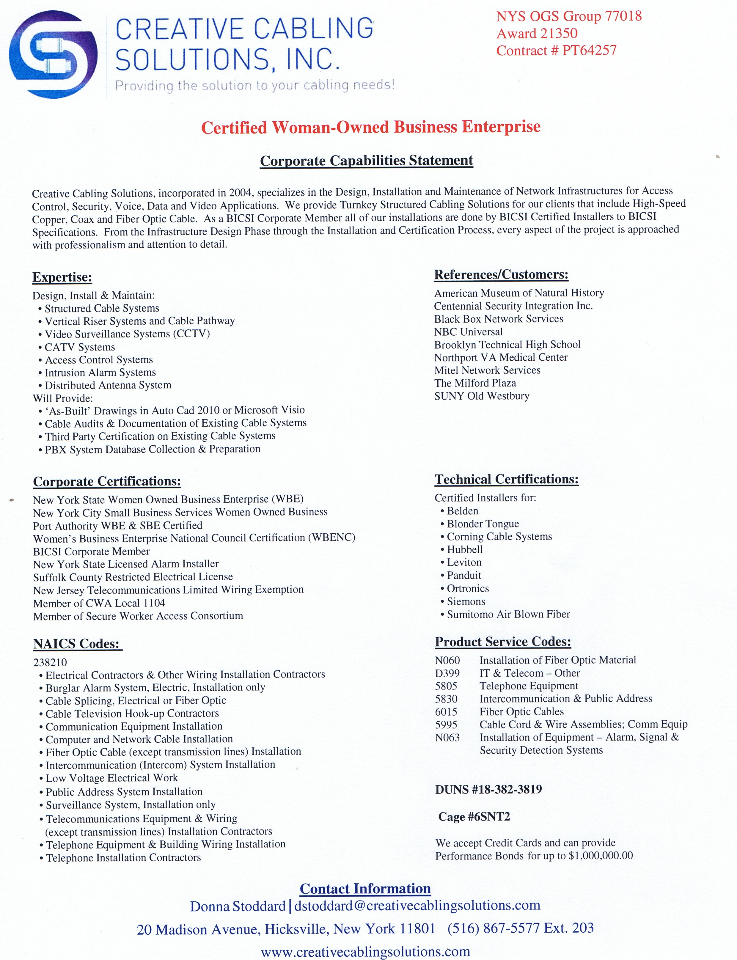 Corporate Capabilities Statement | Creative Cabling